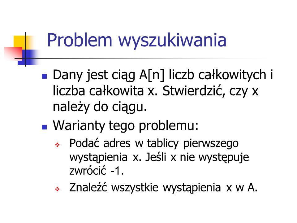 Problem wyszukiwania Dany jest ciąg A[n] liczb całkowitych i liczba całkowita x. Stwierdzić, czy x należy do ciągu.